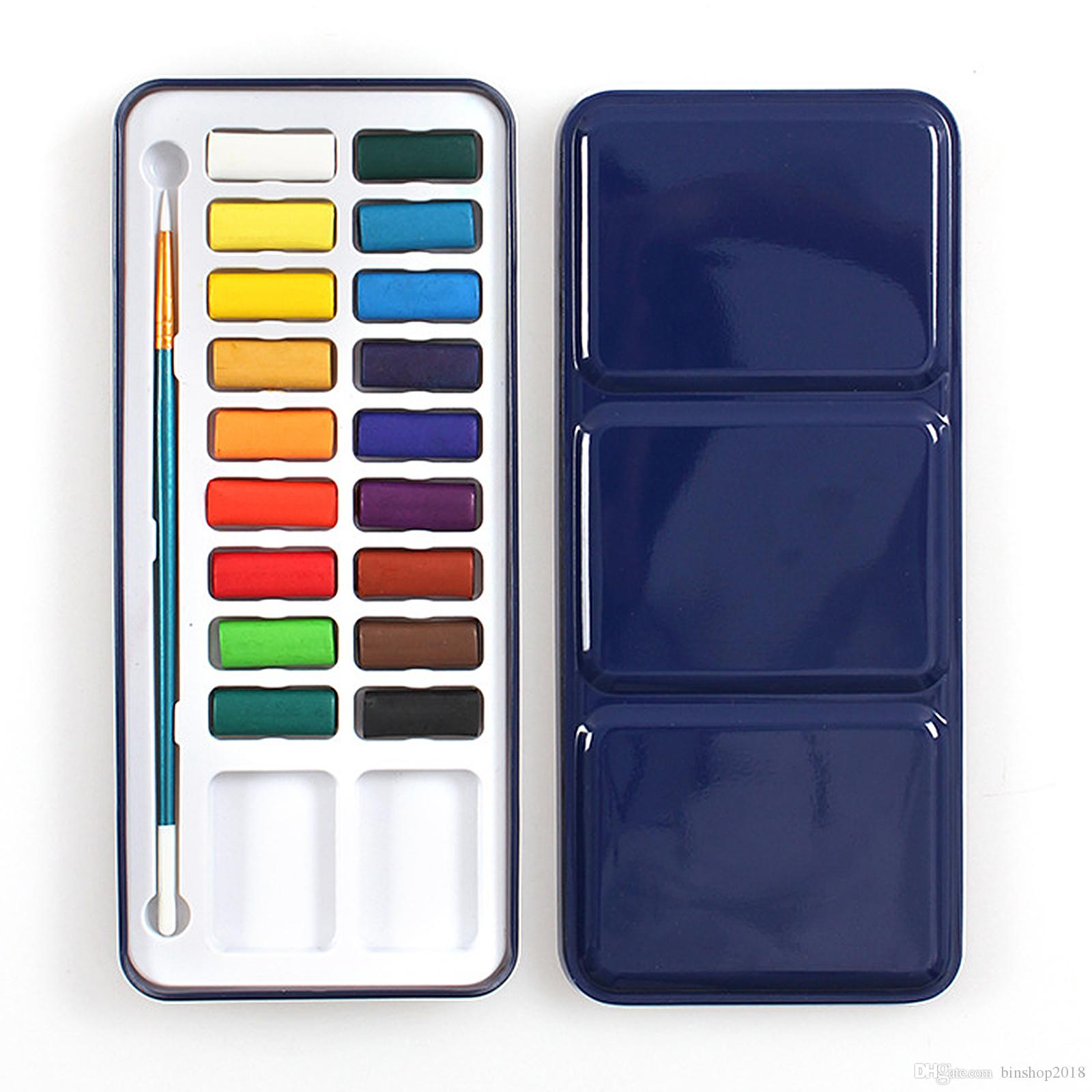 18 Watercolour Paint Set With Brush In Case Painting Water Colour Art Artist Kit