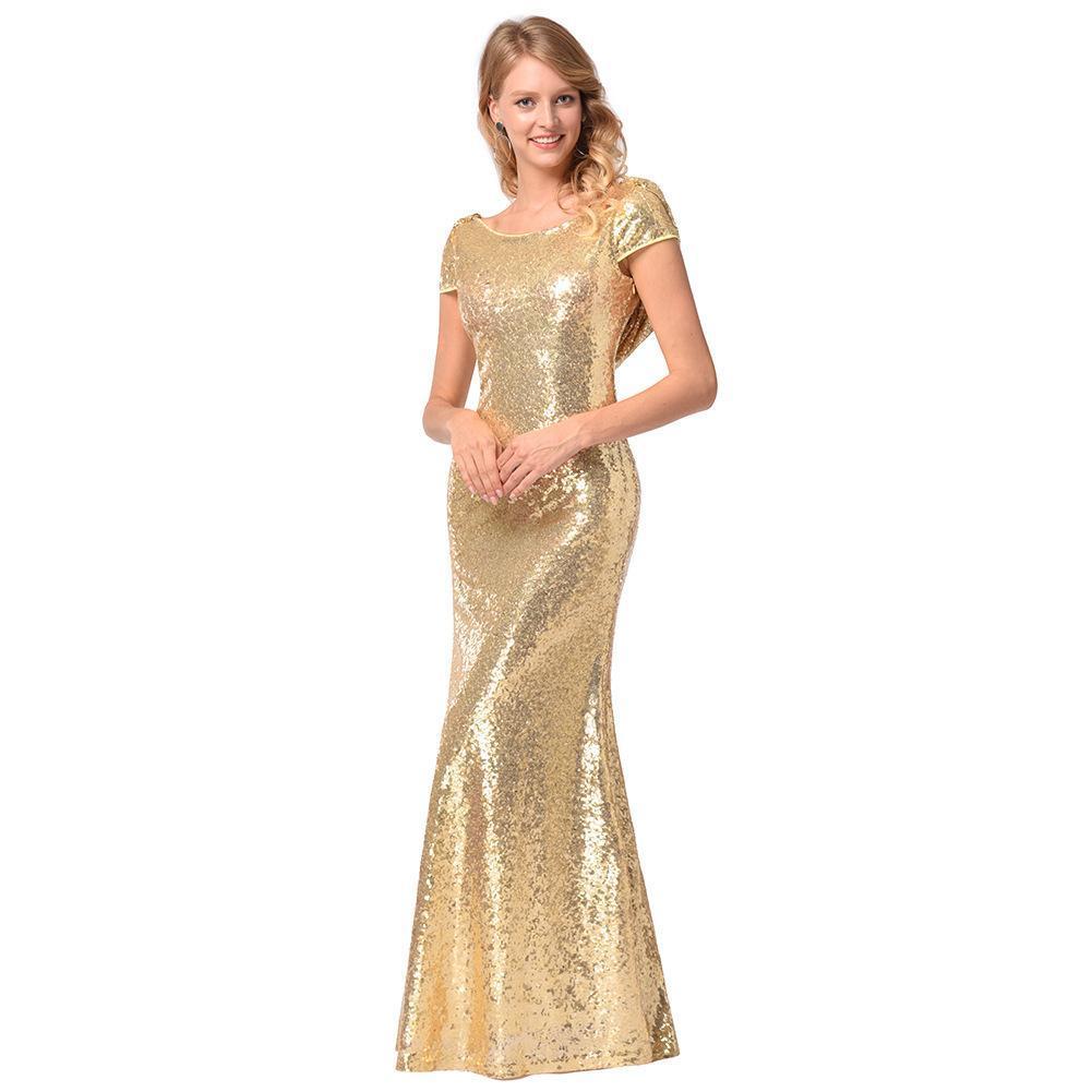d6876a65d65d Mujeres atractivas vestido elegante vestido de dama de honor falda de  lentejuelas Blingbling árabe pura cuello redondo sirena vestidos de fiesta  por ...
