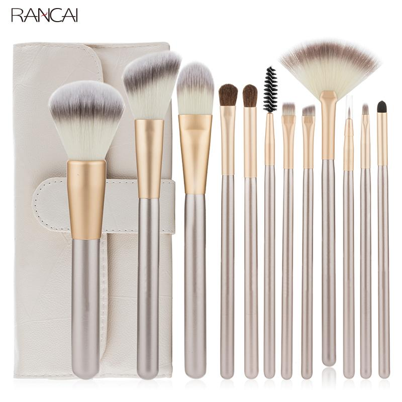 Professional 12pcs Makeup Brushes Set Foundation Powder Blush Eyeshadow Sponge Brush Soft Hair Cosmetic Tools with Leather Bag