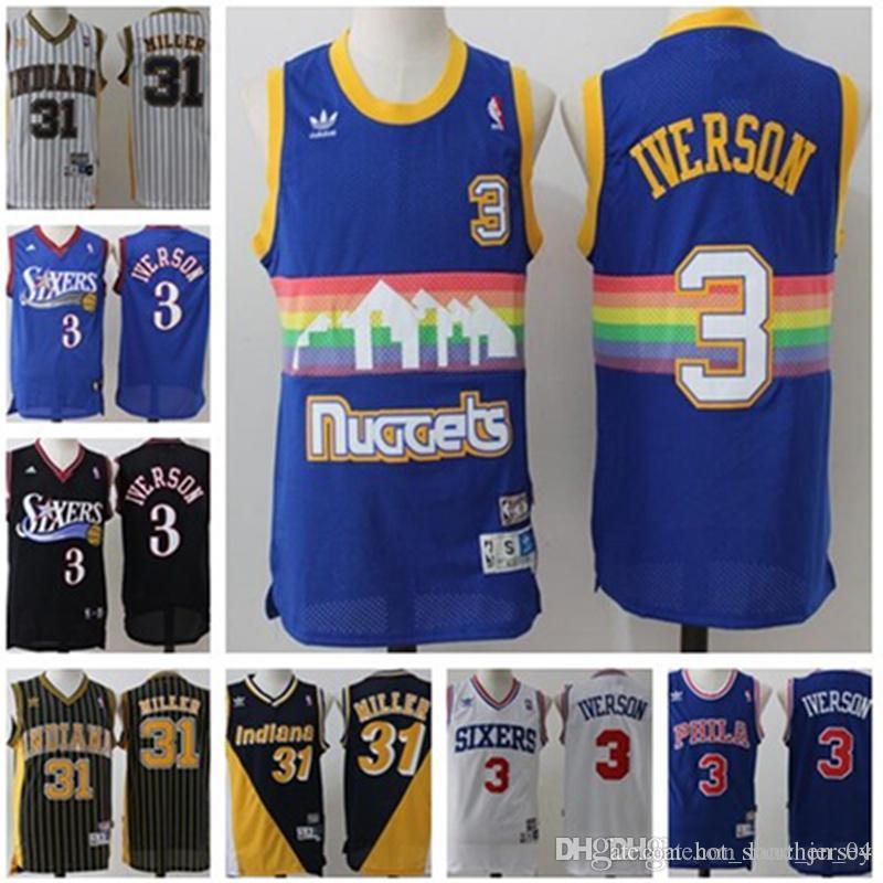 huge discount 8bc9e 54906 Men Philadelphia jerseys 76ers Allen #3 Iverson jerseys Indiana 31 Reggie  31 Miller Pacers Jerseys size S-XXL jersey