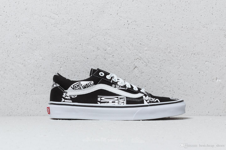detailed look d7d72 9fd27 Vans Era Logo Mix Resbalón Auténtico En Old Skool Hombres Zapatos Casuales  Skate Canvas Sports Para Hombre Zapatillas Zapatillas De Deporte Zapatillas  De ...