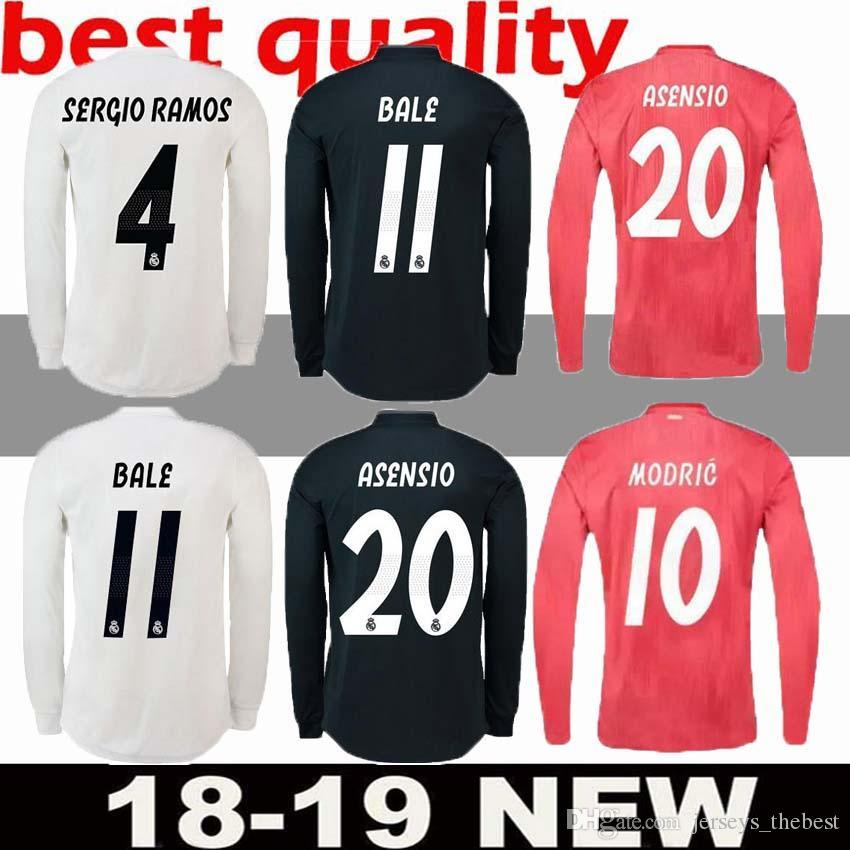 promo code 924c5 c0ad9 RONALDO 18 19 Real madrid soccer Jersey CR7 Long sleeves ASENSIO VALLEJO  BENZEMA BALE KROOS RAMOS MODRIC ISCO NAVAS LUCAS V football shirt