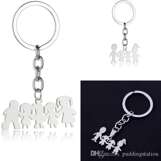 Family Love Mom Dad Son Daughter Keychain Gifts Stainless Steel Pendants  Boys Girls Mothers Fathers Keyring For Children Kids