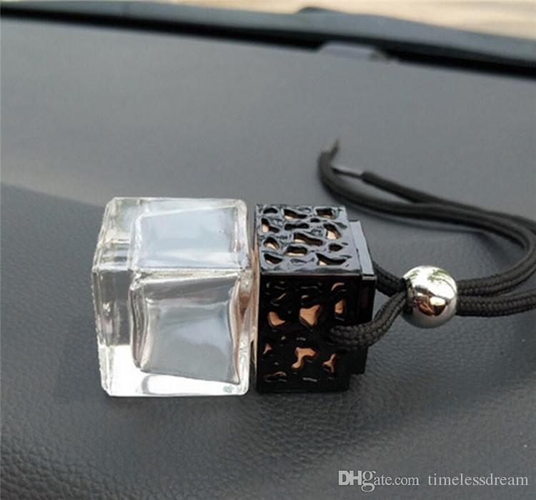 Cubo di profumo bottiglia auto appeso profumo retrovisore ornamento 8 ml deodorante oli essenziali diffusore profumo bottiglia di vetro vuota