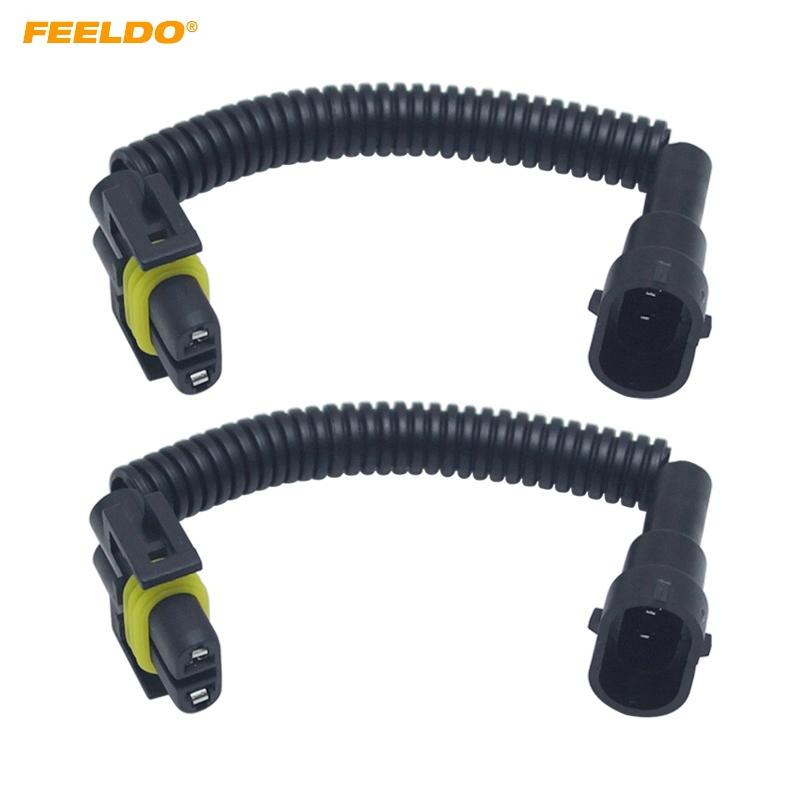 FEELDO 10Pcs Auto H11 LED HID Headlight Wiring Cable Connector Plug Lamp Bulb Socket Wire Adapter Holder #FD6002