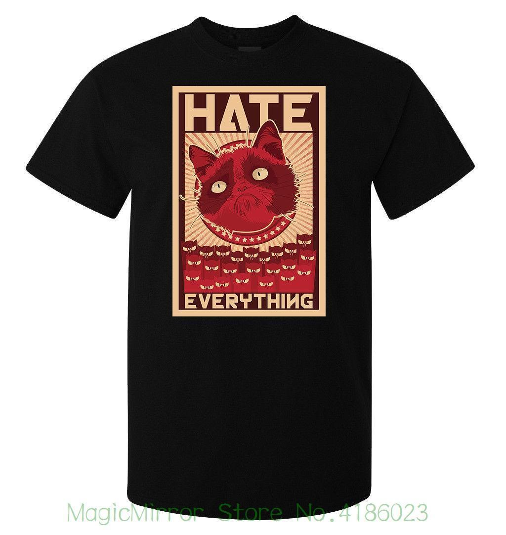 Grumpy Cat Hate Everything Meme Men's ( Woman's Available ) T Shirt Black Short Sleeves Cotton T Shirt