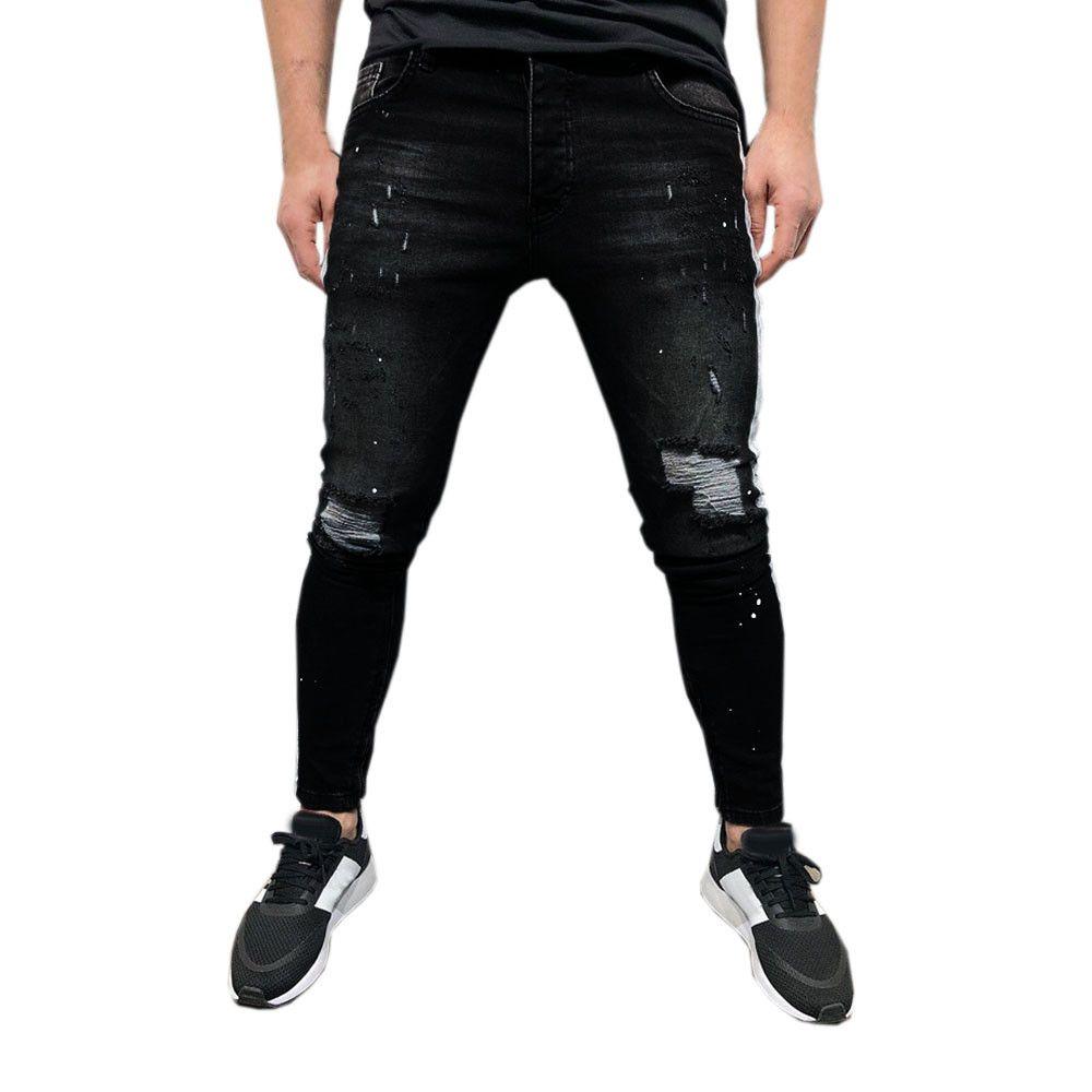 diseñador de moda e31bb 985c6 Mens Denim Black Hip Hop Jogger Jeans Side Striped Trousers Ripped Jeans  For Men Pants Pantalones Vaqueros Hombre 2019 Jean 20