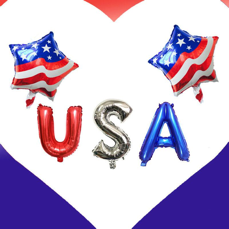 2019 The Stars And The Stripes Foil Balloons Letter's USA Air Globos Independence Day Decorations USA Party Supplies