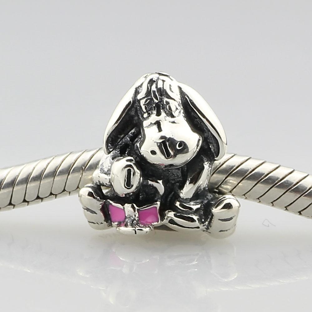 2019 nouvelles perles d'émail rose argent s925 de conte de fées d'âne snequin digne du bracelet de base du bracelet Pandora