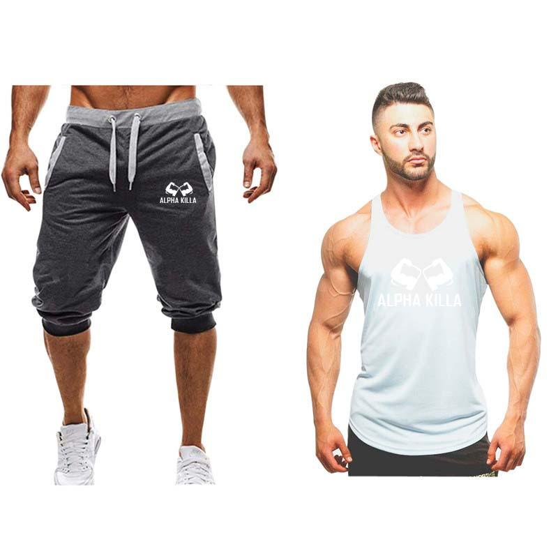 5112339e34ca 2019 New Sportsuits Set Men Brand Fitness Suits Summer Top Short Set Mens  Stand Collar Fashion Tank Top Shorts Tracksuit From Redbud03