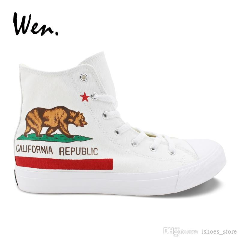 7d45dde049c80 Wen White Laced Shoes Design Hand Painted California Flag Mens Canvas  Vulcanize Shoes Womens Sneakers High Top Cross Straps Flat #295197