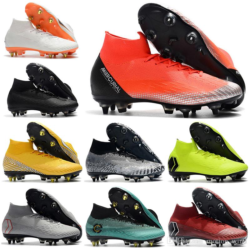 2019 New Mens High Ankle Football Boots CR7 Mercurial Superfly VI 360 Elite  SG Soccer Shoes Superfly Neymar ACC Soccer Cleats UK 2019 From Motion wind 9d2d08dd668a