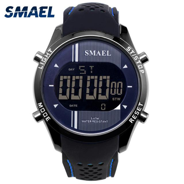 SMAEL Men Digital Wristwatches Silicone Waterproof LED Sports Smart Watches for Male Running Fashion Cool Electronic Watches