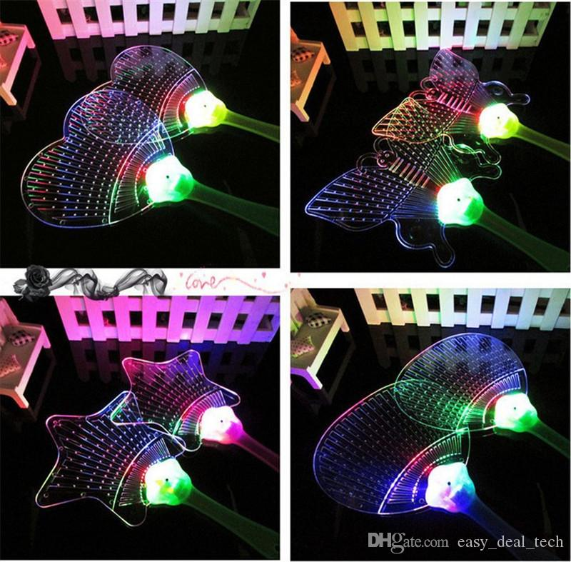 LED Colorful Plastic Flashing Hand Fan Night Glowing light flashing Fan Kids Toys Party Decoration Halloween Christmas H4589