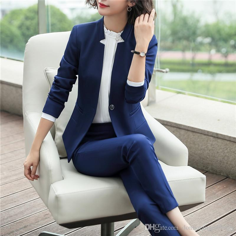 b237ff167fc3 2019 Ladies Navy Blue Blazer Women Business Suit Formal Office Suits Work  Wear Uniforms Pant And Jacket Set Pant Suits 1105 From Dujotree