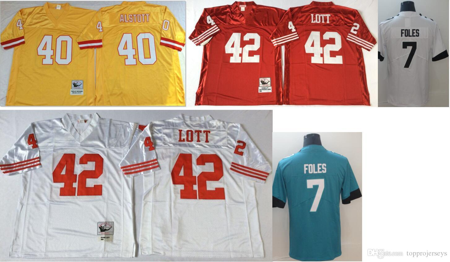 outlet store e0866 1e14c Tampa bay #40 Mike Alstott Jacksonville 7 Nick Foles Mens Vintage SF 42  Ronnie Lott College Color Rush Limited American Football Jerseys