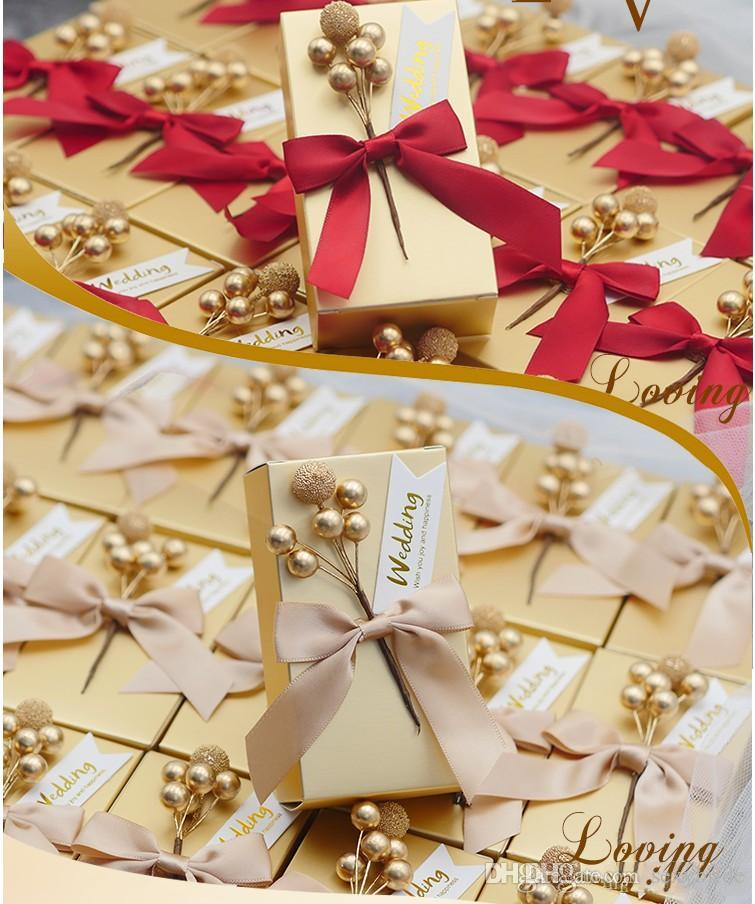 New Rectangle Gold Card Parper Wedding Favor Boxes Chocolate Candy Boxes With Bow Ribbon Packaging Gift Boxes For Guest Cheap party supplies