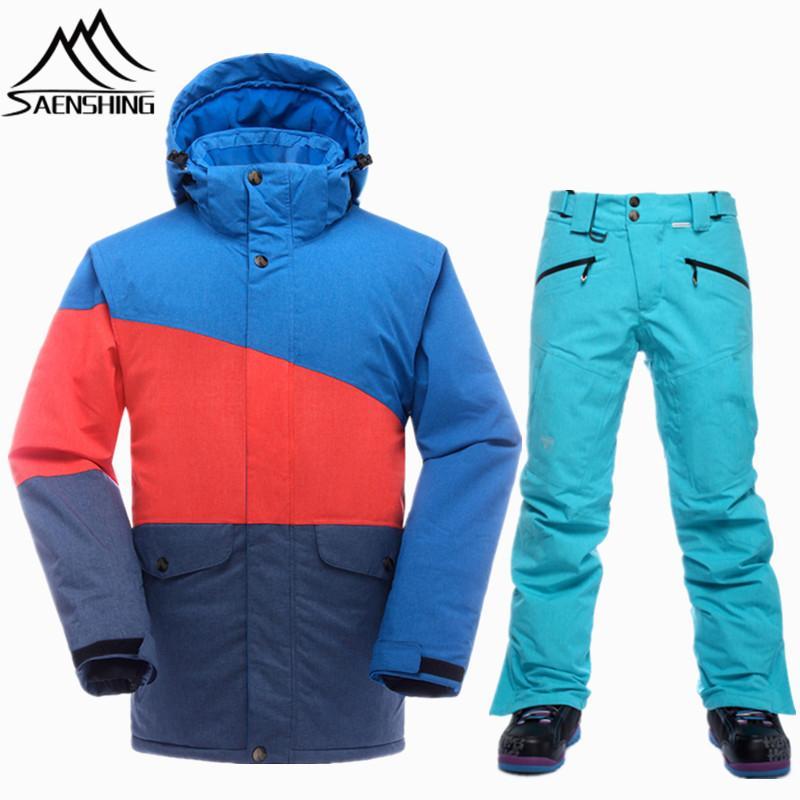 3b159afc08 Tuta da sci da uomo di marca sci da uomo sci da montagna per uomo  impermeabile giacca termica da snowboard + pantaloni da sci traspirante  inverno neve