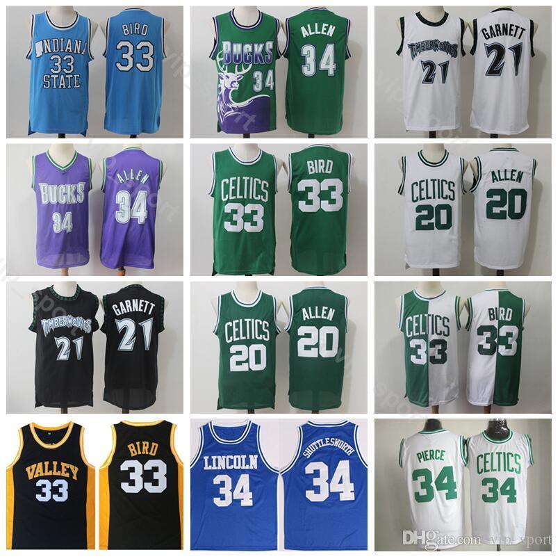 more photos d7693 bc2be Boston Basketball Kevin Garnett Jersey 21 Ray Allen 20 Larry Bird 33 Jesus  Shuttlesworth Paul Pierce 34 O Neal Shaquille 36