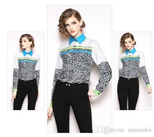 2019 Quality Women Runway Designer 2018 Runway Blouse Femme Top Brief  Design Stripes Patchwork White Leopard Blouse Simple Shirt From Amezaiku c6f5ea2be9d7