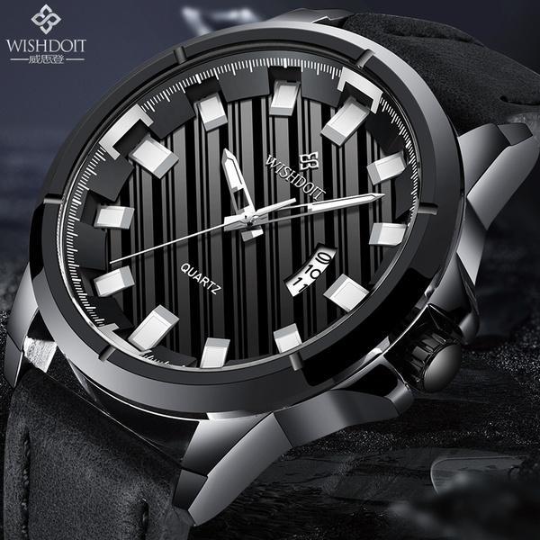 b9a2f0e0b371 Compre WISHDOIT Relojes De Los Hombres De Lujo Negro Hombres Reloj  Deportivo Deportivo De Cuero Para Hombre De Cuarzo Resistente Al Agua Reloj  De Pulsera ...