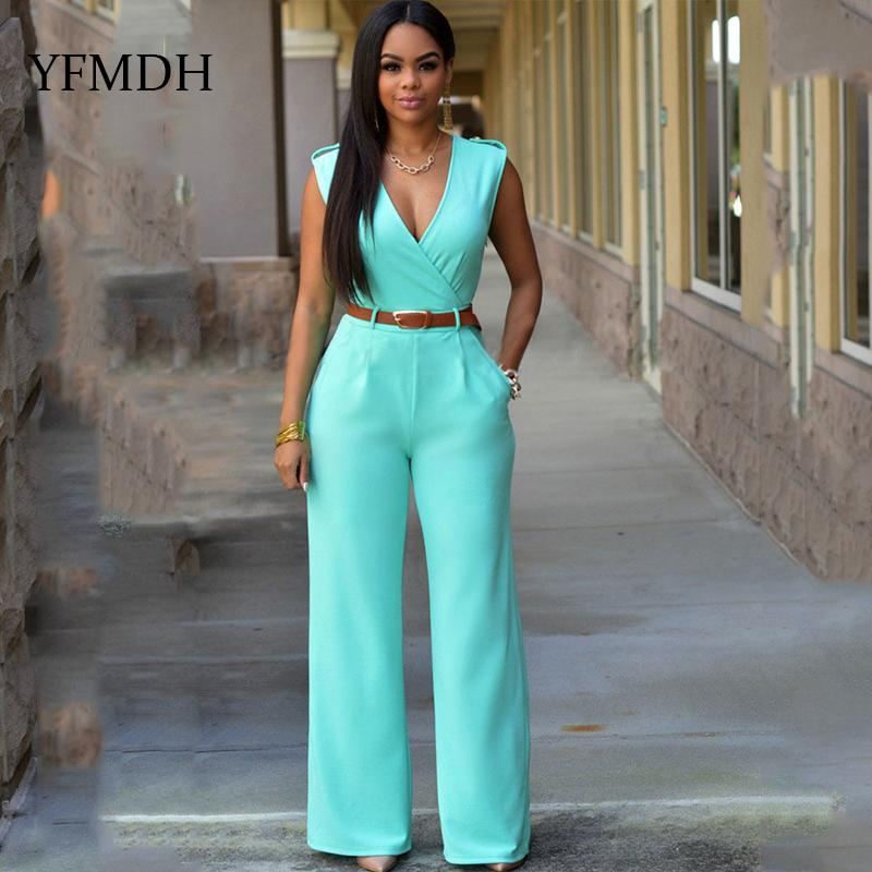 6608901036ef 2019 White Jumpsuit Long Pants For Women Rompers Sleeveless V Neck 2018  Summer Wide Leg Playsuits Bodysuits Belt Sexy Party Overalls From  Undervivi