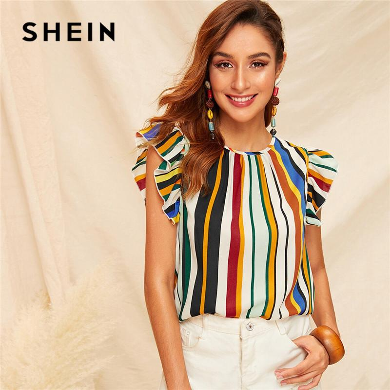 ef743effc3 2019 SHEIN Ruffle Armhole Striped Summer Blouse Ladies Tops Round ...