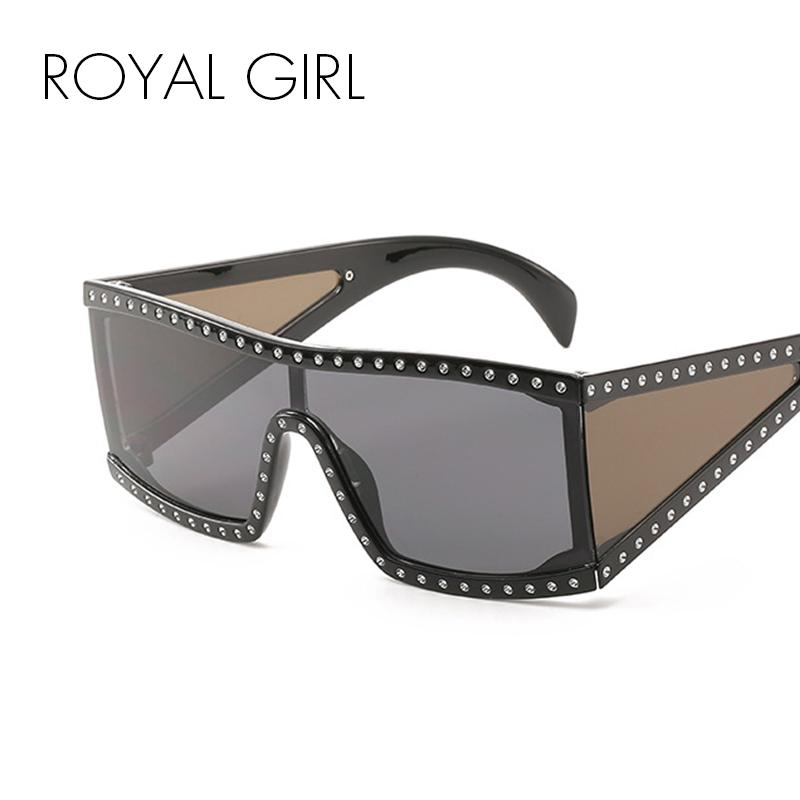 84d2149cf Compre MENINA REAL Luxury Square Óculos De Sol Das Mulheres Oversize Escudo  De Vidro Do Sol Do Sexo Feminino Do Vintage Flat Top Strass Unisex Oculos  SS878 ...