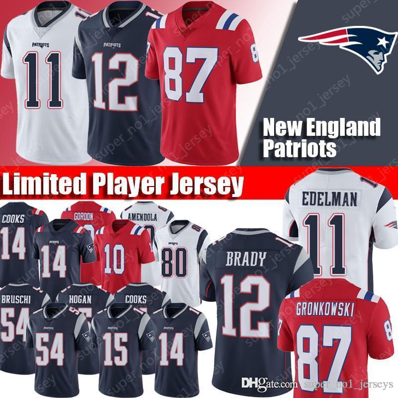 brand new b239a d45b9 New Patriots Jerseys 12 Tom Brady Jersey 11 Julian Edelman Jerseuys 87 Rob  Gronkowski Jersey 50 N Keal Harry Chris Hogan Gordon