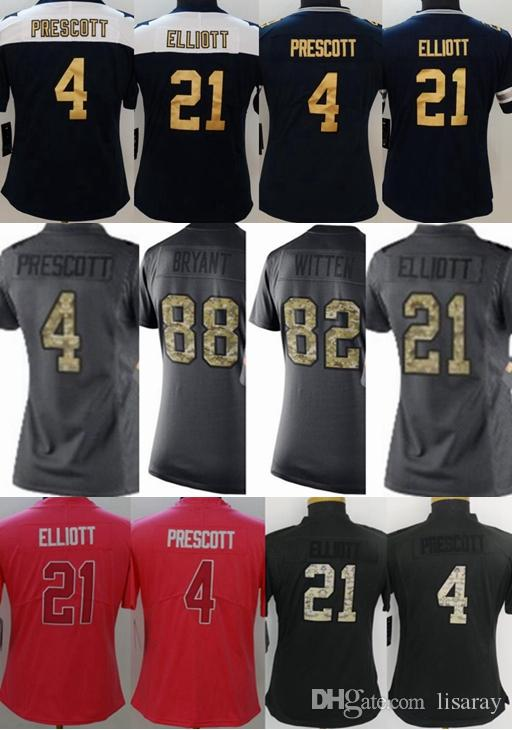 0ddb7891a 2019 New Arrive  4 Dak Prescott  21 Ezekiel Elliott  82 Jason Witten  Embroidery Logos Anthracite Camo Salute To Service Limited Jerseys For  Women From ...