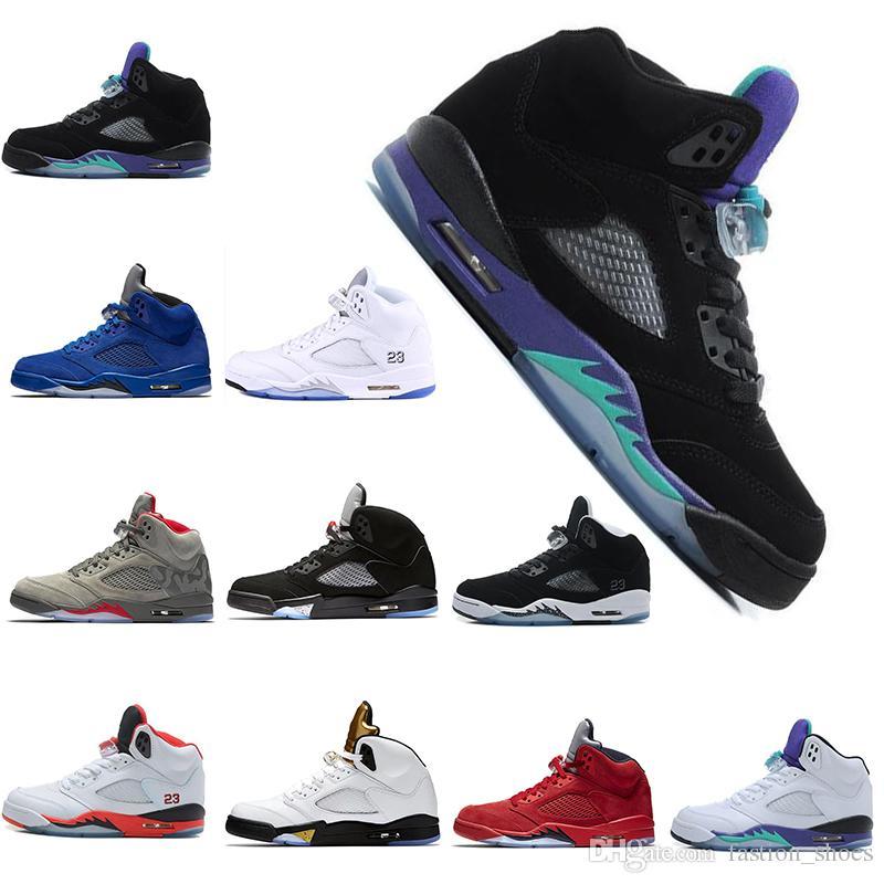 e78e16e37681 2019 Wings 5 5s Mens Basketball Shoes PSG Black White Grape Laney  International Flight Fresh Prince Oreo Sports Sneakers Designer Shoes Nice  5s Basketball ...