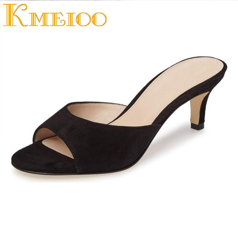 49d15bb6cb70c Kmeioo Women Shoes Women Comfort Low Heel Mules Peep Toe Slide Sandals Slip  On Dress Pump Shoes Size 5 15 US Summer Slippers Boots Shoes Green Shoes  From ...