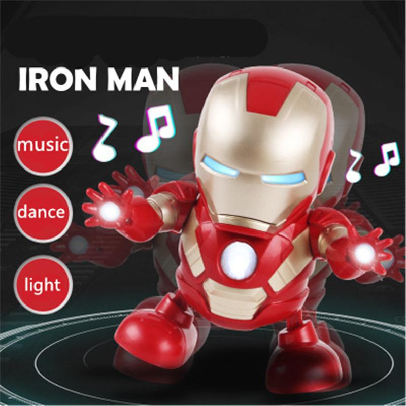 Iron Man Dance Robot Avengers Super Hero Toys Models Electronic Action Figure Kids Toys With Sound LED Flashlight For Christmas Halloween