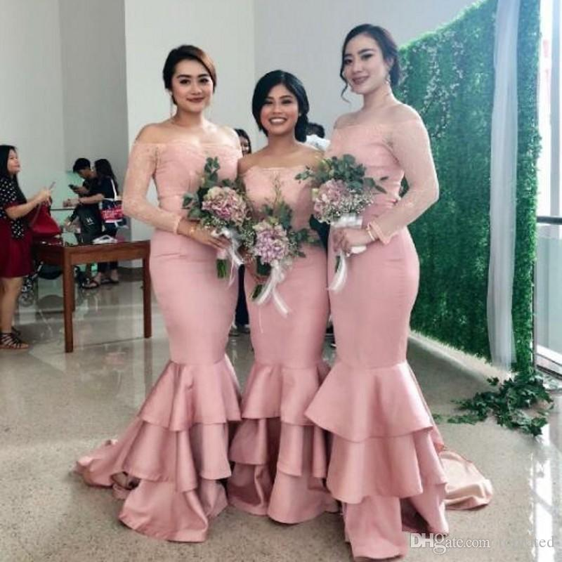 223acb3fa4c 2019 Cheap Blush Pink Mermaid Bridesmaid Dresses Off Shoulder Lace Applique  Formal Dresses Brautjungfer Kleider Wedding Guest Dress Watters And Watters  ...