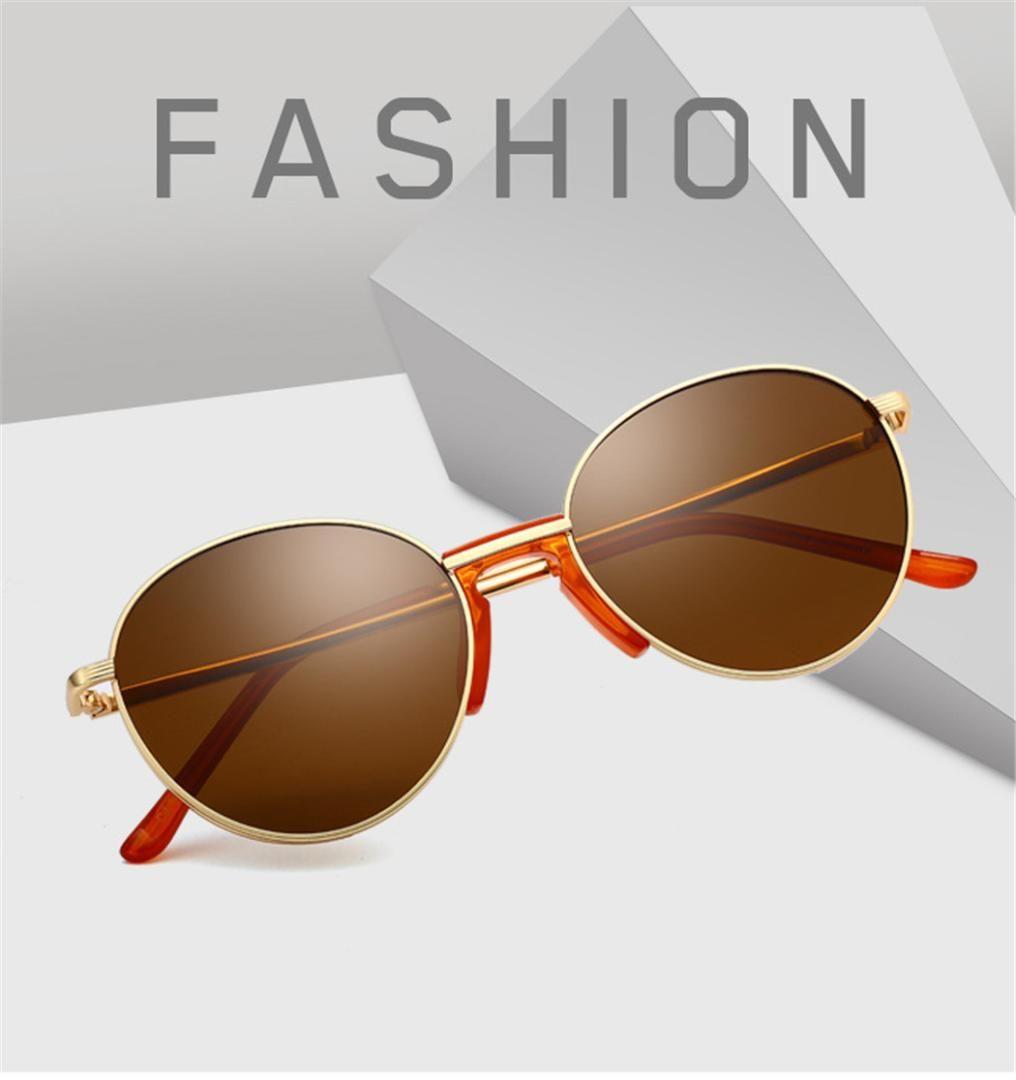 20005b7ef Compre Retro Pequeno Redondo Armação De Metal Óculos De Sol Das Mulheres  Dos Homens Gradiente Vintage Shades Óculos De Sol Para O Homem Marca  Designer ...