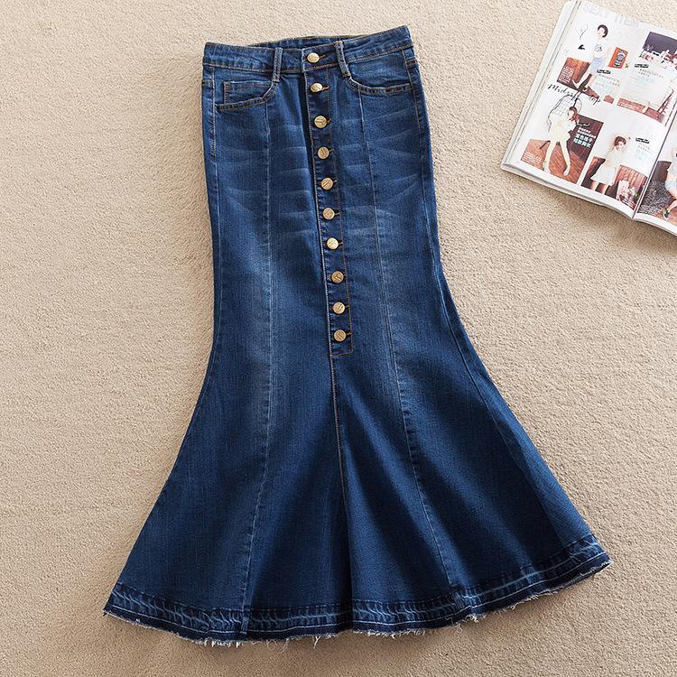 5f5624639e519c Bleu simple boutonnage bouton long Denim Jupes Femmes Plus Size XS-7XL Maxi  Jupes Automne High Street Mermaid Jeans 2906LY