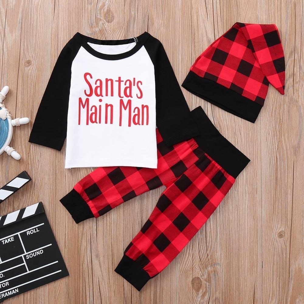 9e42df494 2019 Good Quality Baby Boys Girls Christmas Clothes Set Letter Plaid ...