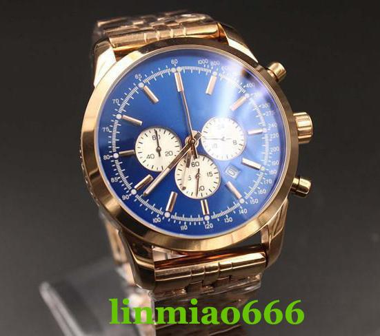 Luxury Limited Quartz Watch Men Blue Dial Gold Skeleton Gold Stainless Belt Gold Case 1884 Clock Montre