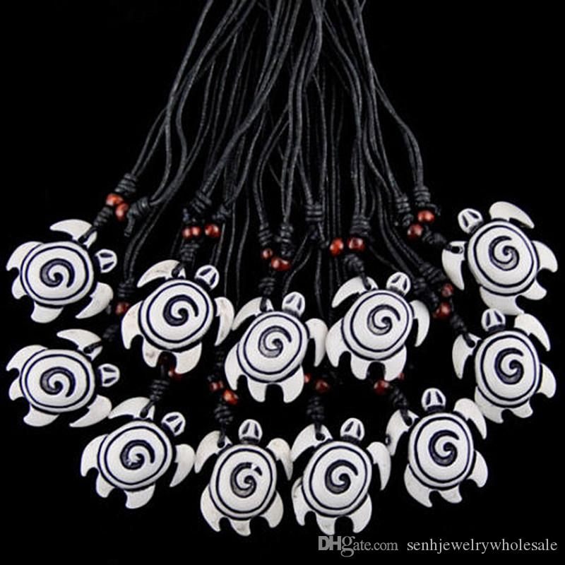 Fashion Wholesale 12PCS/LOT Hawaiian Style Imitation Yak Bone Carved white sea turtles Pendants Necklaces Amulet Gift Drop shippingMN192