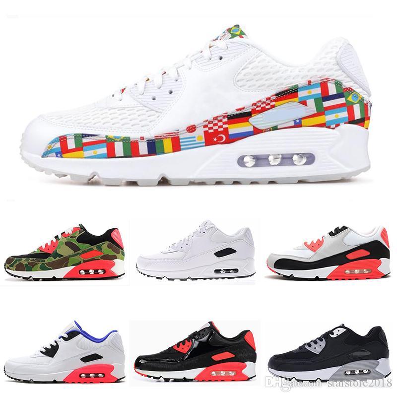 d9f7f5eaf2 Nike Air Max 90 Zapatillas De Running Para Hombre Triple Negro Blanco EE.  UU. Oreo BLACK CROC Hombre Mujer Entrenador Transpirable Calzado Deportivo  Tamaño ...