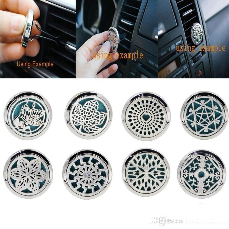 Tree life Car Perfume Air Freshener Diffuser 10 Style Stainless Car Vent Air Freshener Essential Oil Diffuser Cary with Refill Pad