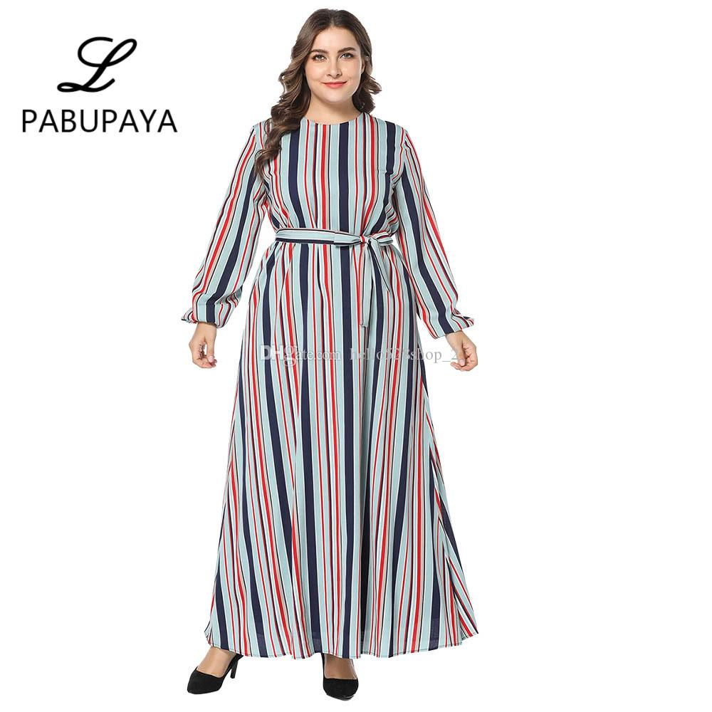 d3c7f1a8ee30 Ladies Striped Maxi Dress Kaftan Vintage Abaya Muslims Robes Moroccan Gown  Formal Work Dresses Loose Kaftan Long Sleeve Gowns Black And Gold Dresses  For ...