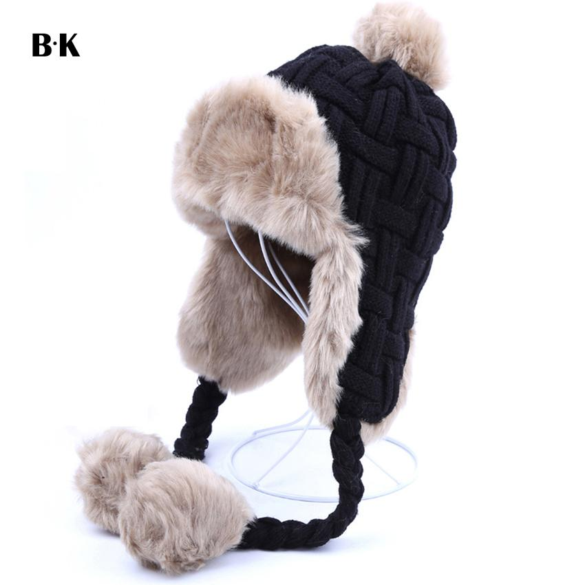 061fbcfe5ad08 Women Trapper Hats Winter Warm Faux Fox Fur Bomber Hat Beanies Russian  Ushanka Wool Knit Pom Pom Earflaps Aviator Caps D19011503 Fitted Hats Straw  Hats From ...