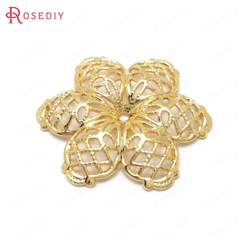 10PCS 24MM 24K Gold Color Brass Decorative Flower Charms Pendants High Quality Jewelry Making Supplies Diy Findings Accessories