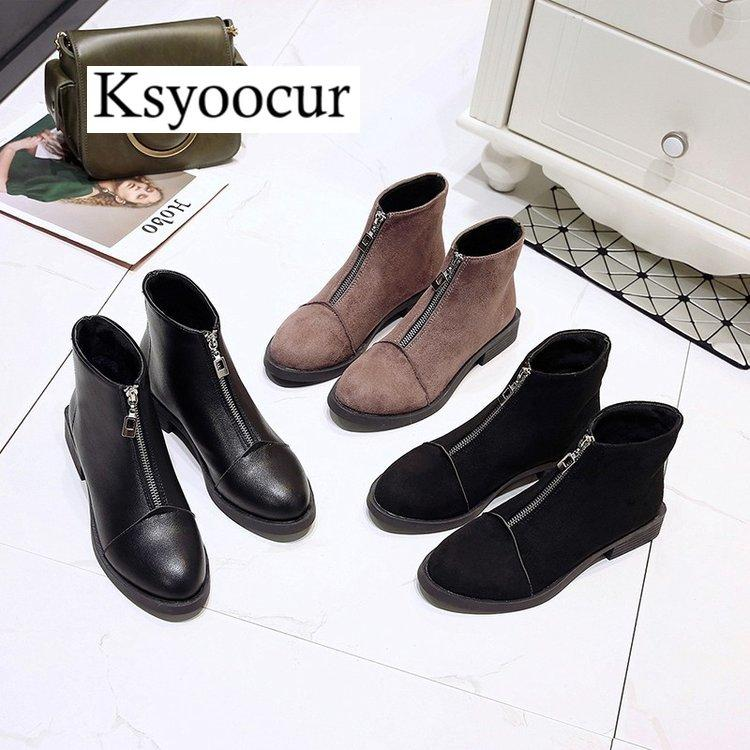 a240e404b652 Ksyoocur Back Zipper Black Ankle Boots For Women Warm Insole Women Boots  Low Heel Autumn Winter Shoes J005 Work Boots Knee High Boots From Gavingg