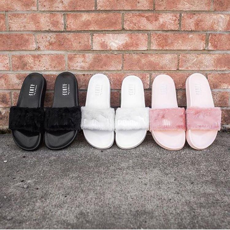premium selection 0da0c 16818 2018 Leadcat Fenty P7Puma Rihanna Faux Fur Slippers Women Indoor Sandals  Girls Fashion Scuffs Pink Black White Grey Slides Slippers With Box