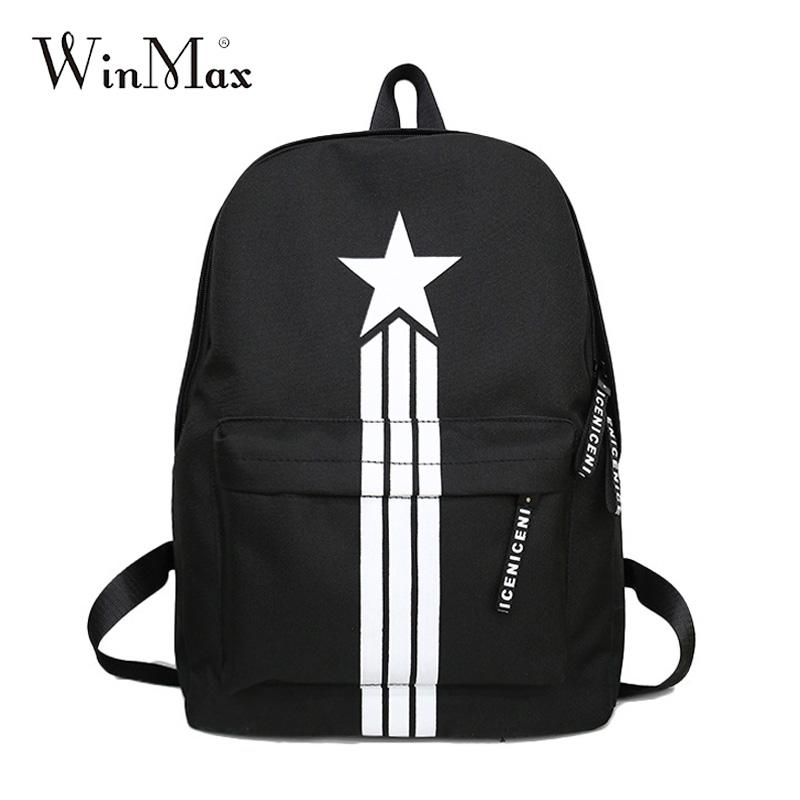 Stars Print Top Quality Canvas Women Backpack