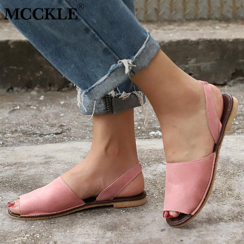 b554adbfe34 2019 Summer Sandals Women Plus Size Flats Female Casual Peep Toe Shoe Slip  On Elastic Band Leisure Solid Footwear