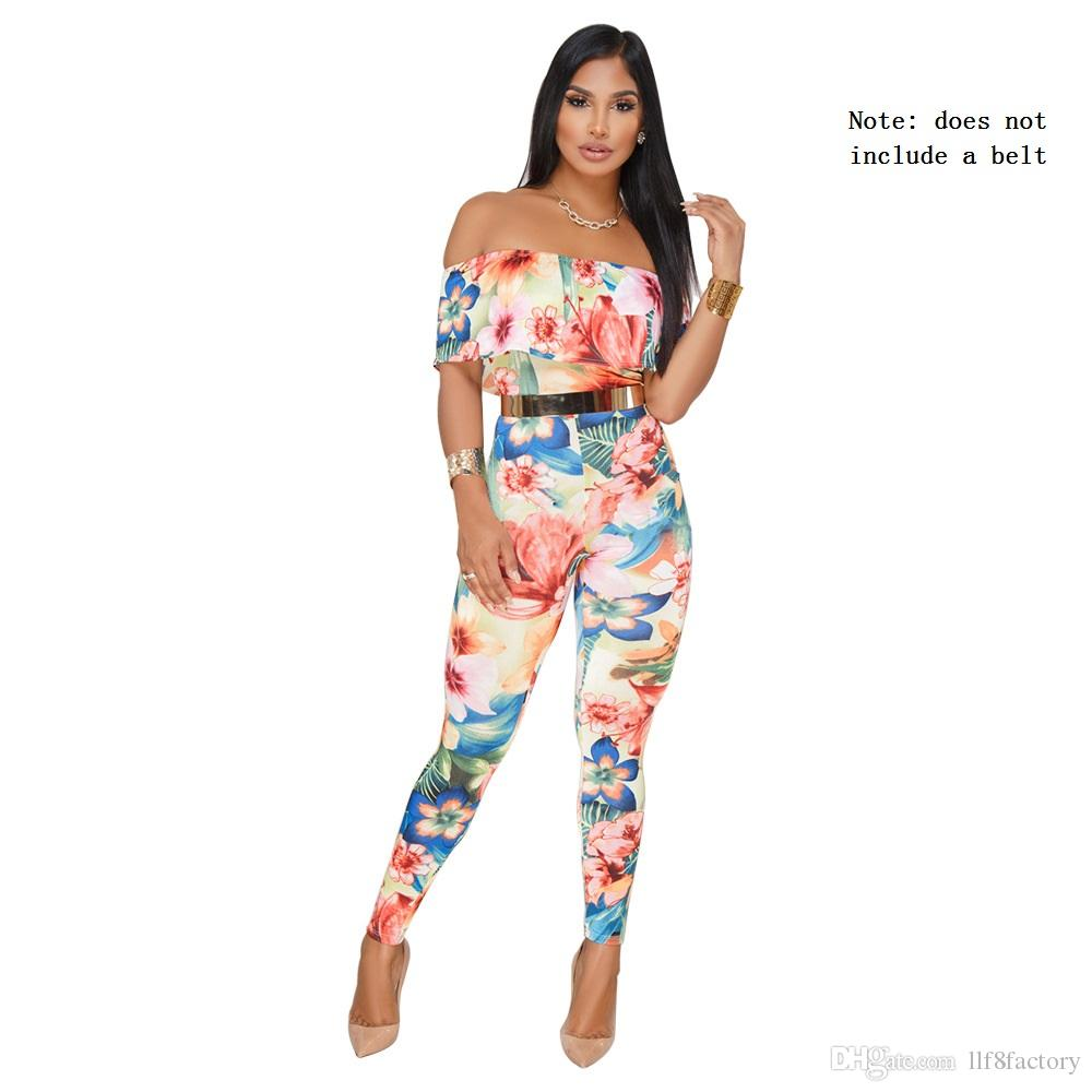 25fd977383b 2019 Fashion Printed Casual Ladies Jumpsuit Sexy Slim Ruffled Word Collar  Off Shoulder Super Large Size Ladies Jumpsuit 9087No Belt From Llf8factory