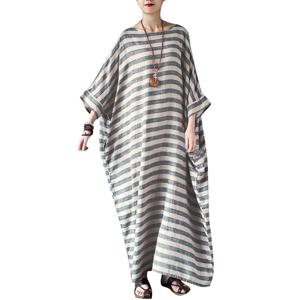 2f1f4ef54798e Satın Al 2019 Yeni Moda Kadınlar Casual Gevşek Elbise Çizgili Baskı Batwing  Kollu Artı Boyutu Elbise Yaz Pamuk Robe Maxi Uzun Elbise Gri, $36.81    DHgate.
